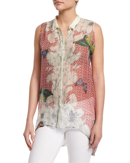 Johnny Was CollectionSleeveless Silk Butterfly-Print Tunic