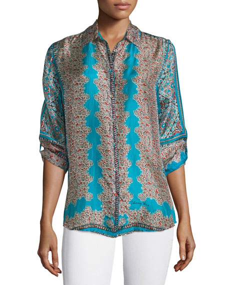 Johnny Was Collection Nikki Long-Sleeve Printed Silk Blouse,