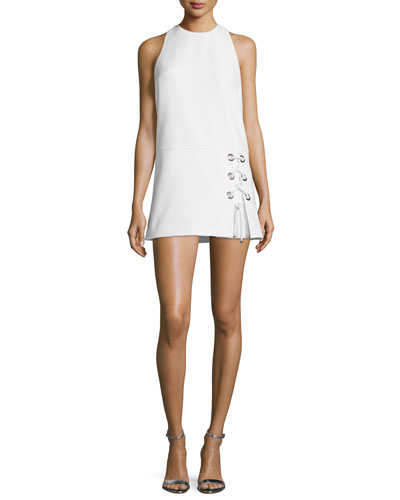 Silva Sleeveless Lace-Up Dress, Chalk