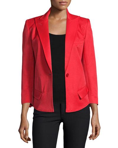 Sharp-Shoulder One-Button Blazer, Red