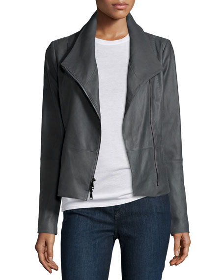 Vince Lined Leather Scuba Jacket, Iron