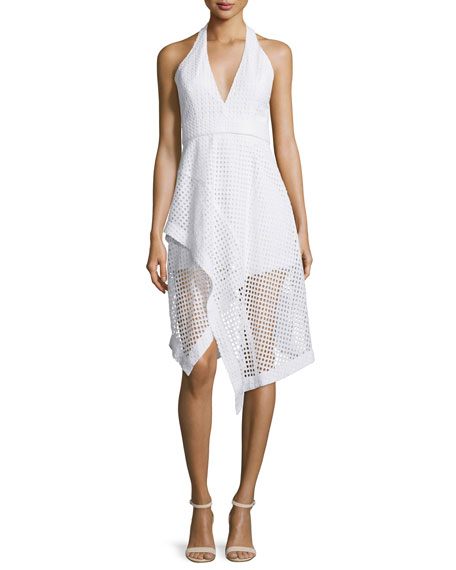 Nicholas Halter-Neck Broderie Ruffle Dress, White