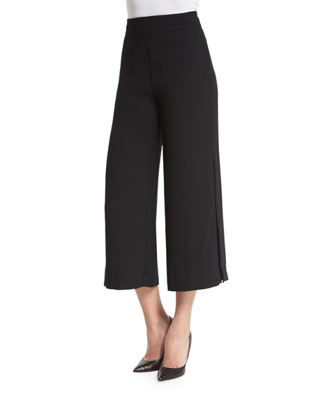 NICHOLAS High-Waist Split-Leg Culottes, Black