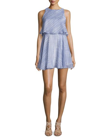 Halston Heritage Sleeveless Round-Neck Flounce Popover Dress,