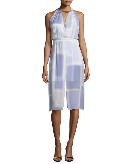 Halston Heritage Sleeveless V-Neck Printed Dress, Iris Color