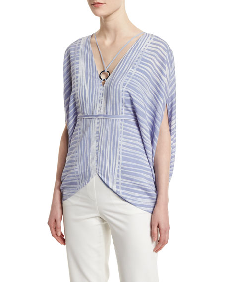 Halston Heritage Short-Sleeve Striped Kaftan Top