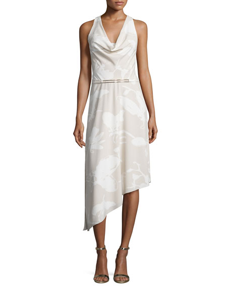 Halston Heritage Sleeveless Cowl-Neck Printed Dress