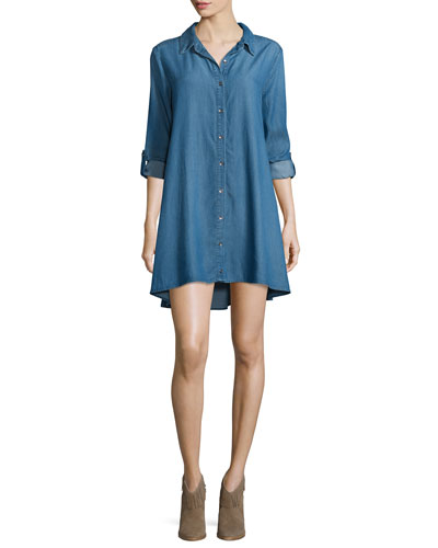 Long-Sleeve Denim Shirtdress, Sun Fade Treatment