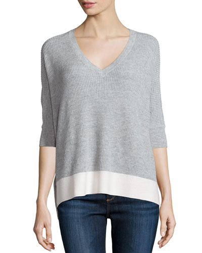Cruz Colorblock Half-Sleeve Top, Light Heather Gray/Natural