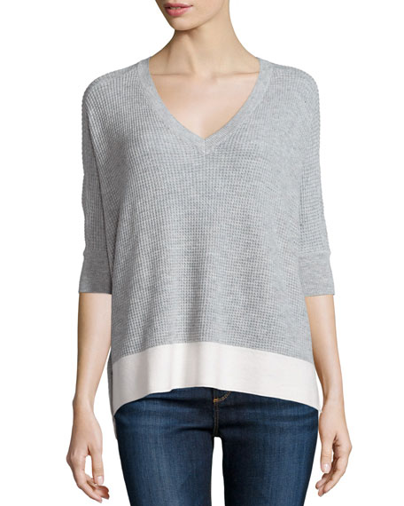 Splendid Cruz Colorblock Half-Sleeve Top, Light Heather Gray/Natural
