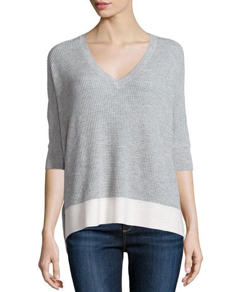 Splendid Cruz Colorblock Half-Sleeve Top, Light Heather Gray/Natural