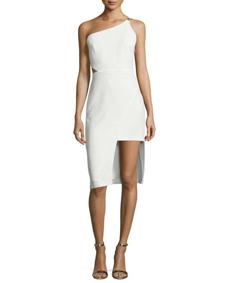 Halston Heritage One-Shoulder Asymmetric Dress