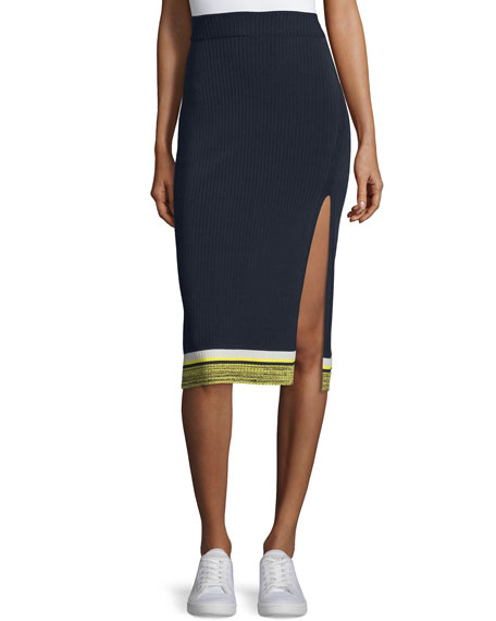 Rag & Bone Sheridan Ribbed High-Slit Pencil Skirt, Navy