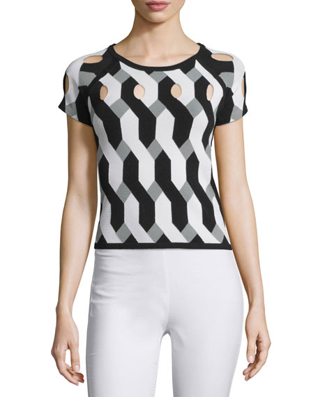 Rag & BoneOlympia Short-Sleeve Printed Cutout Top, Black/White
