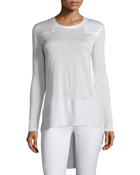 Rag & Bone Riley Long-Sleeve Silk-Blend Top, Bright