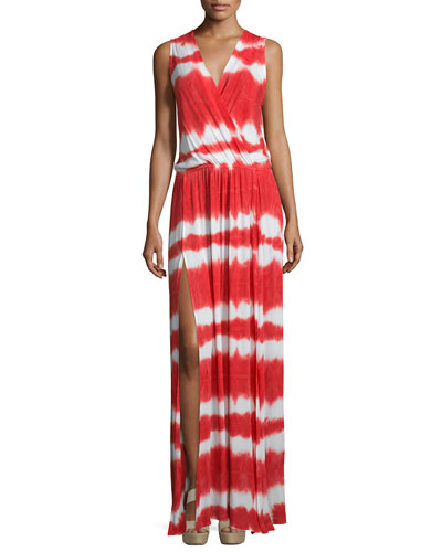 Noel Sleeveless Striped Maxi Dress, Papaya Shibori Stripe