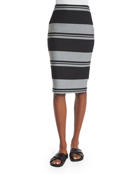 Elizabeth and James Aisling Striped Pencil Skirt, Black/White