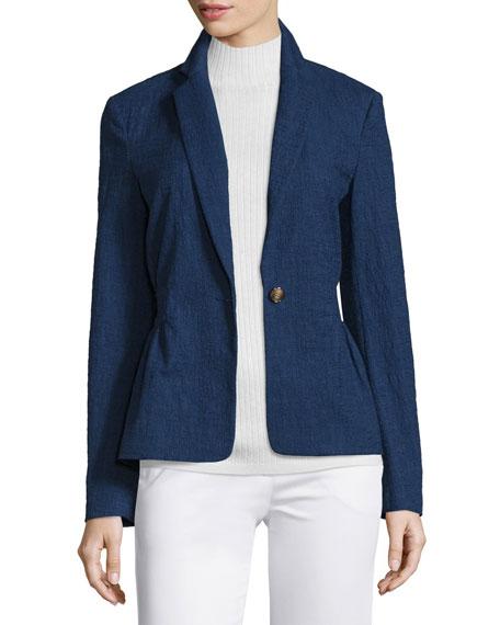 Diane von Furstenberg Gavyn Chambray Single-Button Blazer,