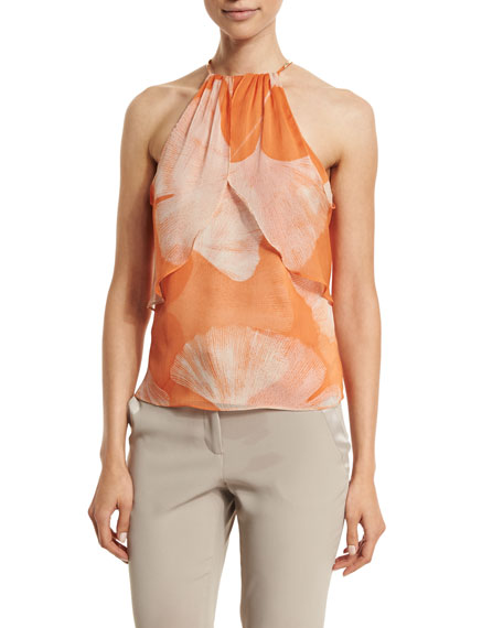 Halston Heritage Halter-Neck Printed Top, Terracotta Botanical
