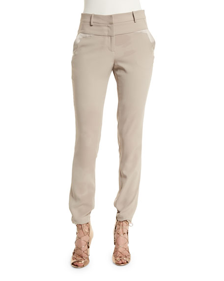 Halston Heritage Mid-Rise Slim-Fit Pants, Pebble