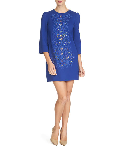 Cynthia Steffe 3/4-Sleeve Embroidered Shift Dress, Midnight Rush