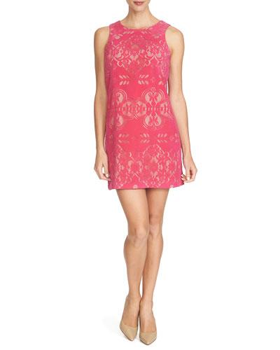 Sleeveless Jewel-Neck Shift Dress, Dancing Rose