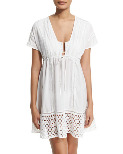 Peasant Short-Sleeve Coverup Dress, White