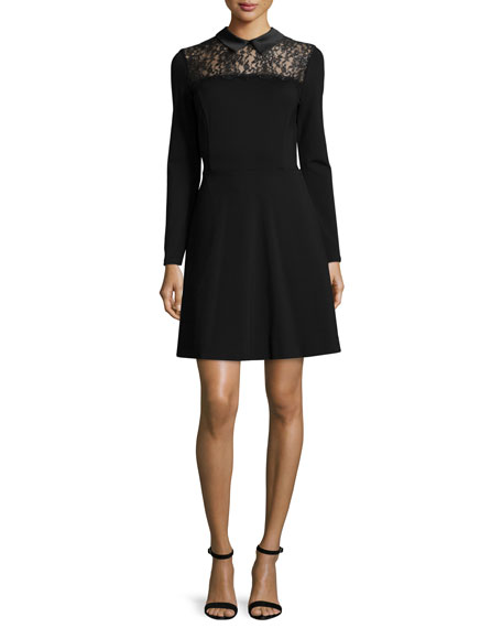 ERIN erin fetherston Lace-Yoke Fit-and-Flare Shirtdress