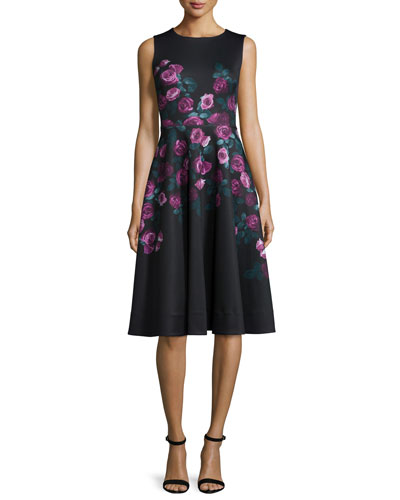 Sleeveless Floral-Print Fit-&-Flare Dress
