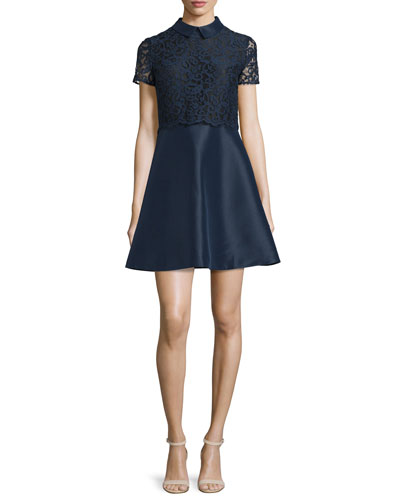 Collared Lace Combo Fit-and-Flare Dress