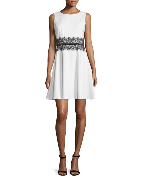 Sleeveless Lace-Waist Fit & Flare Dress