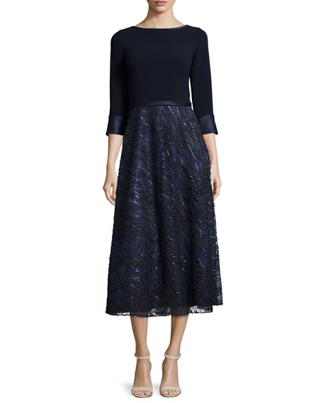 Theia Embellished-Skirt Midi Cocktail Dress, Navy