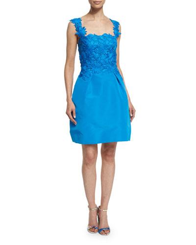 Sleeveless Floral-Applique Dress, Azure