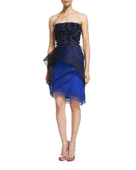 Monique Lhuillier Strapless Tiered Cocktail Dress with Beading, Noir/Cobalt