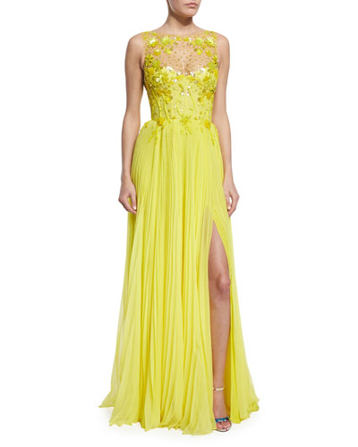 Embroidered Tulle/Pleated Chiffon Illusion Gown