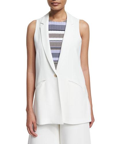 Garnet One-Button Long Vest, Ivory