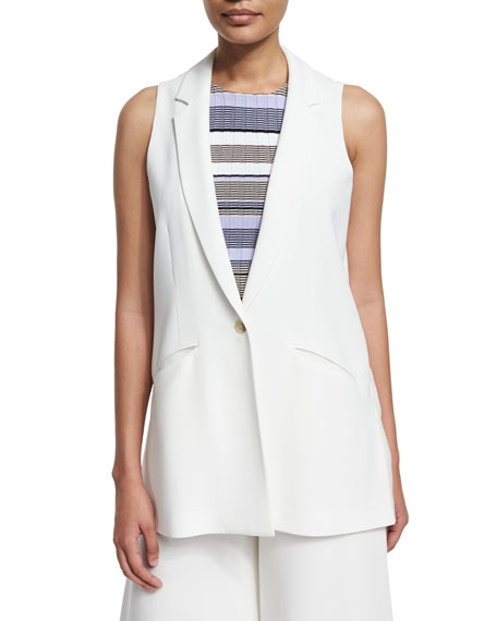 Elizabeth and James Garnet One-Button Long Vest, Ivory