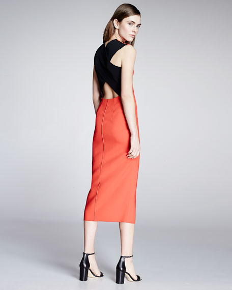 Sleeveless Cross-Back Midi Dress, Sunburst