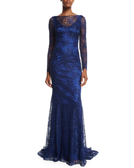 Theia Long-Sleeve Metallic Lace Gown