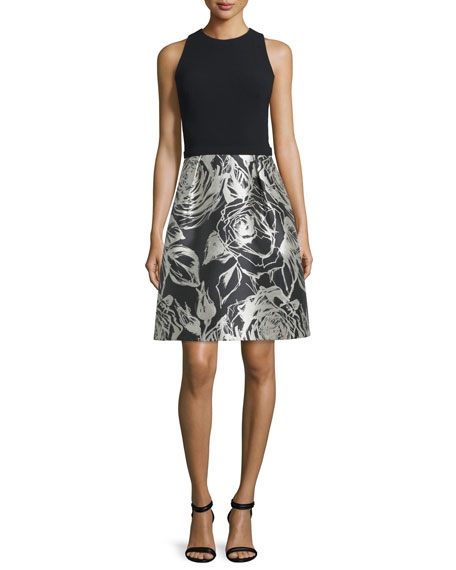 Theia Sleeveless Floral Combo Cocktail Dress