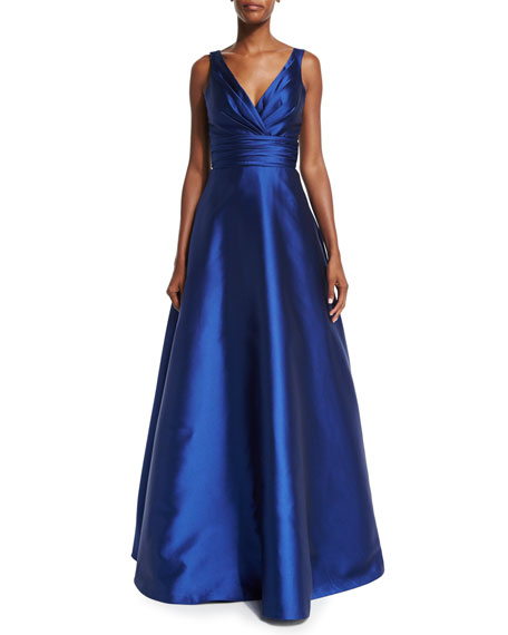 Theia Sleeveless Ruched Ball Gown