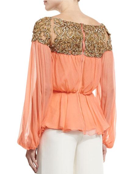 Embellished-Yoke Peasant Blouse, Coral