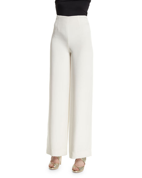 Marchesa High-Waist Wide-Leg Pajama Pants, Ivory