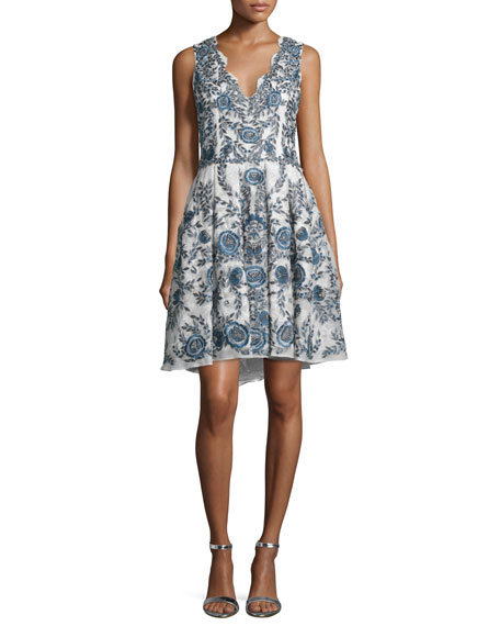 Marchesa Sleeveless Floral-Embroidered Cocktail Dress, Ivory