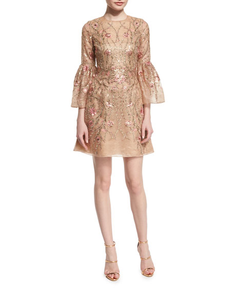 Marchesa Embroidered Bell-Sleeve Cocktail Dress, Nude