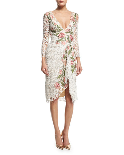 Floral-Appliqué Lace Cocktail Dress, Ivory
