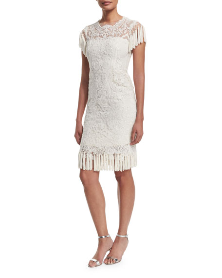 Marchesa Short-Sleeve Lace Cocktail Dress, Ivory