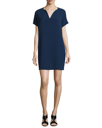 Kora Short-Sleeve Shift Dress, Midnight
