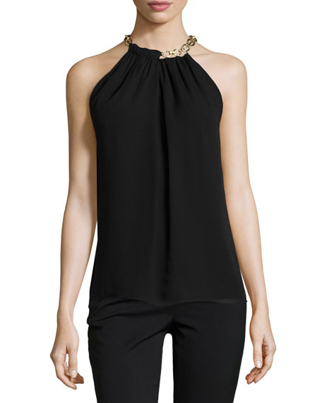 Diane von Furstenberg Aubrey Chain-Trim Silk Top, Black