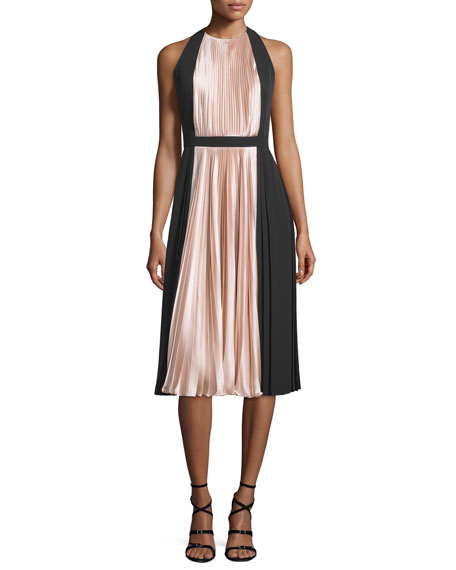 Carmen Marc Valvo Sleeveless Colorblock Pleated Cocktail Dress
